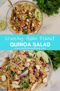 This amazing crunchy Asian Peanut Quinoa Salad is so delicious and loaded with plant based protein and fiber. The peanut sauce dressing is addicting, creamy and so delicious so you and your family are going to go nuts for this quinoa salad! Healthy salad recipes | vegan recipes | vegetarian recipes | plant based | easy salad | clean eating | quinoa salad