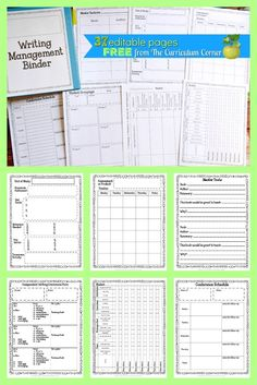 FREE Editable Writing Workshop Management Binder | Writing Conference Forms | The Curriculum Corner