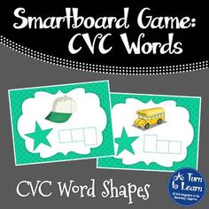 CVC Words: Spelling CVC Word Shapes Game for Smartboard/Promethean Board!