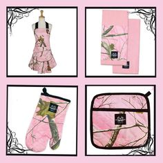 Add a touch of lifestyle to your kitchen with this attractive camo linen 6 piece set. Includes 1  Apron, 2 Towels, 2 Hot pads and 1 Oven Mitt. All items 100% cotton. Towels 18x22'' Hot Pads 8.5x9'' Oven Mitt 7x11'' Available in Mossy Oak or Pink Real Tree Design