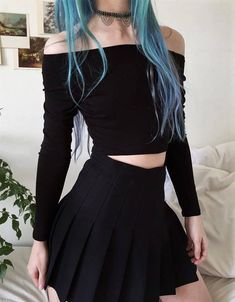 Choker with off-the-shoulder crop top & black skirt by aliencreature