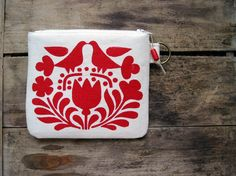 Red Birds 'n Blossoms Change Purse by HummingbirdFactory on Etsy, $24.00