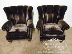 Pair of Louis XV High Barrel Back Living Room Wing Chairs w/ Mohair