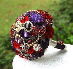 Red And Purple Wedding Bouquets - Wedding and Bridal Inspiration Wedding Brooch Bouquets, Diy Bouquet, Flower Bouquet Wedding, Broch Bouquet, Wedding Wishes, Red Wedding, Wedding Ideas, Wedding Stuff, Wedding Decorations
