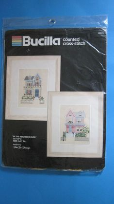 Bucilla In the Neighborhood Set of 2 Counted Cross Stitch Kit 40375 New Sealed Counted Cross Stitch Kits, 2 Set, Towel Set, Pansies, Seal, The Neighbourhood, Frame, Things To Sell, Design