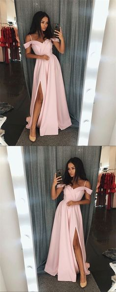 Pink Prom Dress,Off The Shoulder Long Prom Dress,Pink Evening Dress