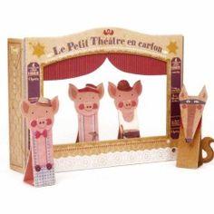 Le petit théâtre en carton - Les 3 petits cochons et le loup  disponible sur www.lafolleadresse.com