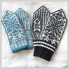 Ravelry: Stjernetrio pattern by Marianne Skjelstad Mittens Pattern, Knit Mittens, Knitted Gloves, Knitting Socks, Free Knitting, Knitting Patterns, Diy Crafts Knitting, Knitting Projects, Wrist Warmers