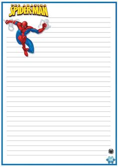 Spiderman Stationary Printable Lined Paper, Free Printable Stationery, Disney Scrapbook, Scrapbook Paper, Lined Paper For Kids, Frame Border Design, Hero Crafts, Kids Planner, Notebook Paper