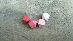 Geometric Wood Necklace  Hedron Necklace  Pink by The Vintage Acorn, $18.00