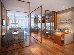 divisória de ambiente feita de vidro e madeira para escritório