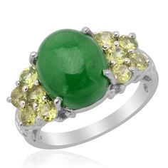 Liquidation Channel: Enhanced Green Jade, Hebei Peridot, and Diamond Ring in Platinum Overlay Sterling Silver (Nickel Free)