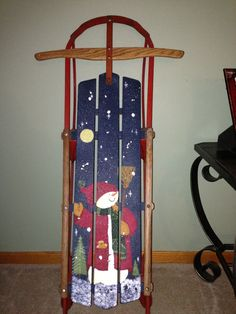 Painted sled~Finally got to make one for myself! Christmas Sled, Christmas Wood Crafts, Indoor Christmas Decorations, Snowman Crafts, Christmas Scenes, Country Christmas, Holiday Crafts, Christmas Sleighs, Snowman Pics