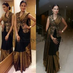 Shilpa Reddy in Black Kanjivaram Saree | Saree Blouse Patterns