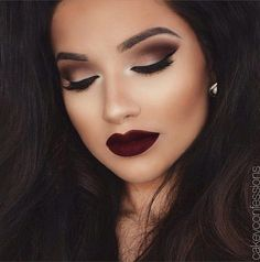 love this -  smokey eye burgundy lip - Google Search