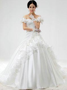 $279.79 Princess Satin Sweetheart Strapless Lace-up Chapel Train Flower Appliques Wedding Dresses #Cheap #wedding #dresses #