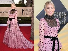 Kate Hudson's SAG Awards Dress Sparked a Lot of Commotion Kate Hudson, Pink Dress, Peplum Dress, Valentino Gowns, Sag Awards, Glamour, Style Icons, Actors, Formal Dresses