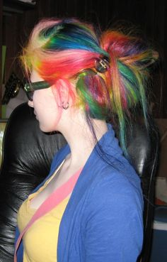 Attractive Rainbow color hair style.To choose to flaunt your beauty shop online Hair extension with #HairExtensions