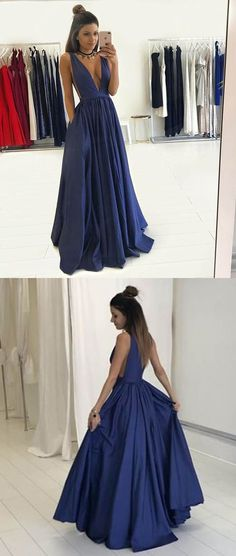Long Prom Dresses,Dark Blue Prom Dresses,Prom Dresses 2017,Deep V Neck Prom Dresses,Elegant Prom Dresses,Prom Dresses With Pocket