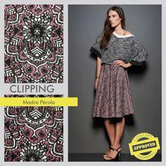 Clipping – Coleção Inverno 2015 Madre Pérola. O artigo utilizado foi o Bukhara, um jacquard colorido com desenhos étnicos! #concept #conceptfashion #concept_textil #fashion #textile #clipping #jacquard #etnic #color #madrepérola
