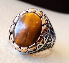 tiger eye oval flat stone man ring sterling by AbuMariamJewels