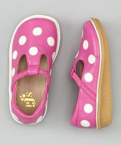 Hot Pink & White Polka Dot T-Strap Shoe by Puddle Jumper Shoes on #zulily today!