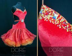 Red Velvet Latin w Stoned Strings & Stoned Bustline & Belt w Red Orange & Yellow Organza Layered Skirt