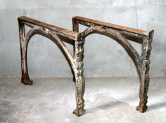 Vintage Antique Industrial Legs Machine Age Old Cast Iron Table Bench Base Stand