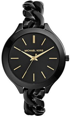 Michael Kors Ladies Black Slim Runway Watch