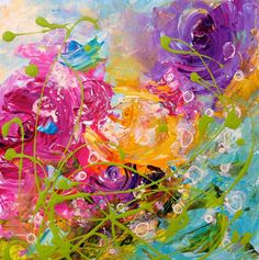 ARTFINDER: Blooming swirling Tango by Emma Sian  Pritchard - This painting is sold framed, I haven't an image of the frame yet, but I have had it framed by my local framer in a 2.5inches wide distressed wood frame with...