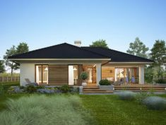 DOM.PL™ - Projekt domu FA Oceania II CE - DOM GC7-08 - gotowy koszt budowy Modern Bungalow Exterior, Small House Exteriors, Modern Bungalow House, Bungalow House Plans, Porch House Plans, Dream House Plans, House Outside Design, House Design Pictures, Village House Design