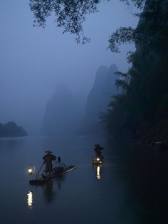 Deep peace.... Lights dancing on the River, silent boats forging forward... Li River, China.