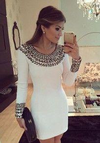Mini-robe clouté col rond manches longues blanc