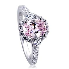 Platinum Plated Sterling Silver 12ct Oval Super Light Pink CZ Halo Ladies Cocktail Ring  Size 5 to 9  5 * You can find out more details at the link of the image.Note:It is affiliate link to Amazon.