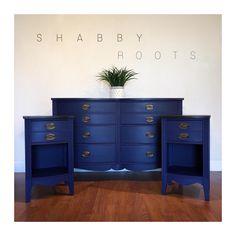 SOLD- Antique federal bedroom set in blue. Navy blue / royal blue San Francisco, CA - - Decor, Furniture, Wood Bedroom Sets, Long Dresser, Blue Furniture, Home Decor, Bedroom Set, Cool Furniture, Room Furniture