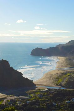 Piha, Auckland, New Zealand - The sand actually isn't this colour but being iron sand is actually quite black, similar to some beaches close to Papeete, Tahiti