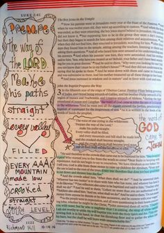 Vintage Grace- Preparing the Way in journaling Bible. Highlighting and hand lettering in her Bible.