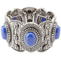 Charlotte Russe Silver Marbled Stone Stretch Cuff Bracelet by... ($6) ❤ liked on Polyvore featuring jewelry, bracelets, silver, bracelet bangle, silver jewelry, stone jewelry, cuff bangle bracelet and silver bangles