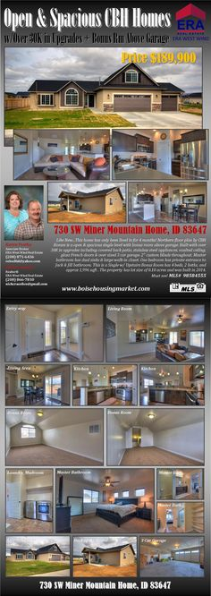 "Like New...This home has only been lived in for 4 months! Northern floor plan by CBH Homes is a open & spacious single level with bonus room above garage. Built with over 30K in upgrades including covered back patio, stainless steel appliances, vaulted ceiling, glass french doors & over sized 3 car garage. 2"" custom blinds throughout. Master bathroom has dual sinks & large walk-in closet. One bedroom has private entrance to Jack & Jill bathroom."