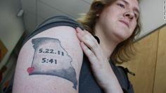 Joplin High School student Sam Fiskey's tattoo memorializes the day and time the tornado struck the Missouri town.