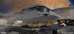 Here are some variations on big ships that were going to show up in the first mission of The Taken King.