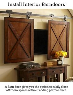 Rolling Cabinet Media Solution I Wanted To Use Barn Doors But Have No Place For Them In My Home