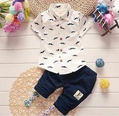 eab3e8c56ee Baby clothes summer short sleeve shirt+short pants kids boys outfits  gentleman