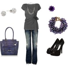 """""""Going out""""  w diff earrings? New Wardrobe, Wardrobe Ideas, Going Out, Purple Grey, Purple Colors, Spring Fashion, Autumn Fashion, Fashion Outfits, Womens Fashion"""