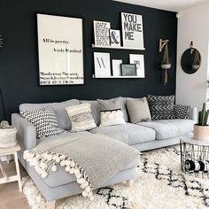 Love the dark wall. ❤ Love the dark wall. ❤ Love the dark wall. ❤ Love the dark wall. Apartment Living, Home, Room Inspiration, Apartment Decor, Living Room Grey, Living Room Inspiration, Interior Design Living Room, Living Decor, Home And Living