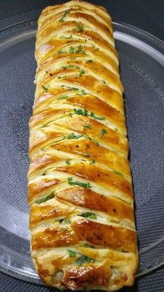 Tresse feuilletée coeur fondant au jambon fromage oeuf et Roseval