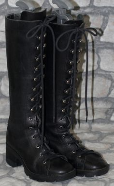 Black Leather Victorian Steampunk Goth Lolita Officer Lace Up Knee Boots 3 36