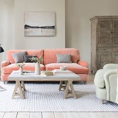 How to use Pantone's Colour of the Year Living Coral in your home in 2019 — LIV for Interiors Furniture, Living Room Sofa, Interior, Coral Living Rooms, Comfy Sofa, Sitting Room Design, Velvet Sofa Living Room, Interior Design, Beautiful Bedding