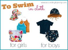 summer cloth diaper essentials for swimming.