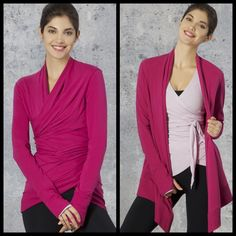 Two looks - One Jacket!     Our versatile Warm-Up Cardigan can be worn loose or wrapped and tied in the back for a completely different look. Throw it on over your favorite workout top or t-shirt.